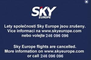 Varování na webu Letiště Praha